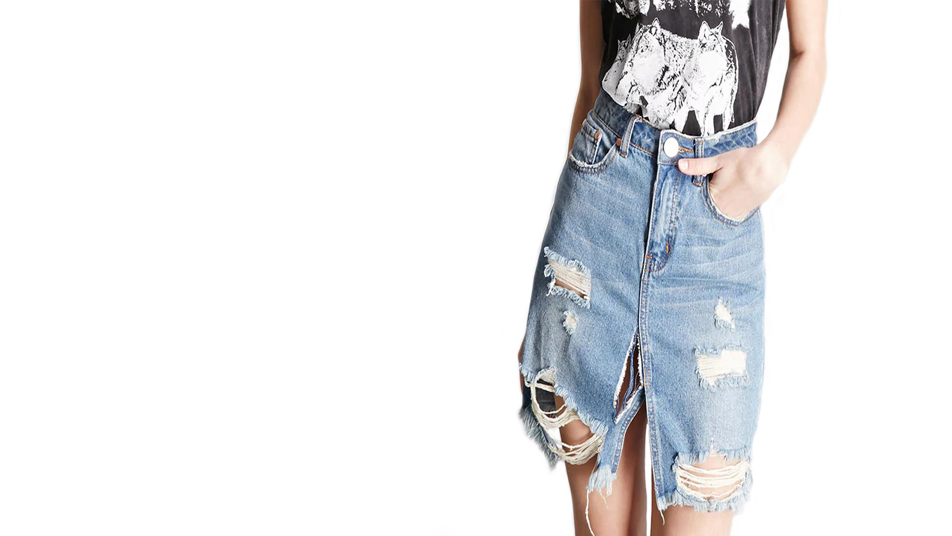 Distressed Denim Skirt - 5 After Midnight - Up In Here