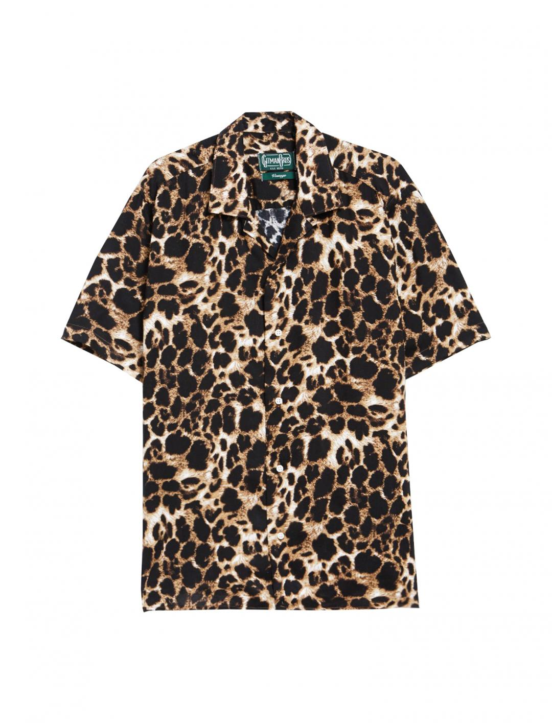 "Leopard Camp Shirt {""id"":5,""product_section_id"":1,""name"":""Clothing"",""order"":5} Gitman Brothers Vintage"