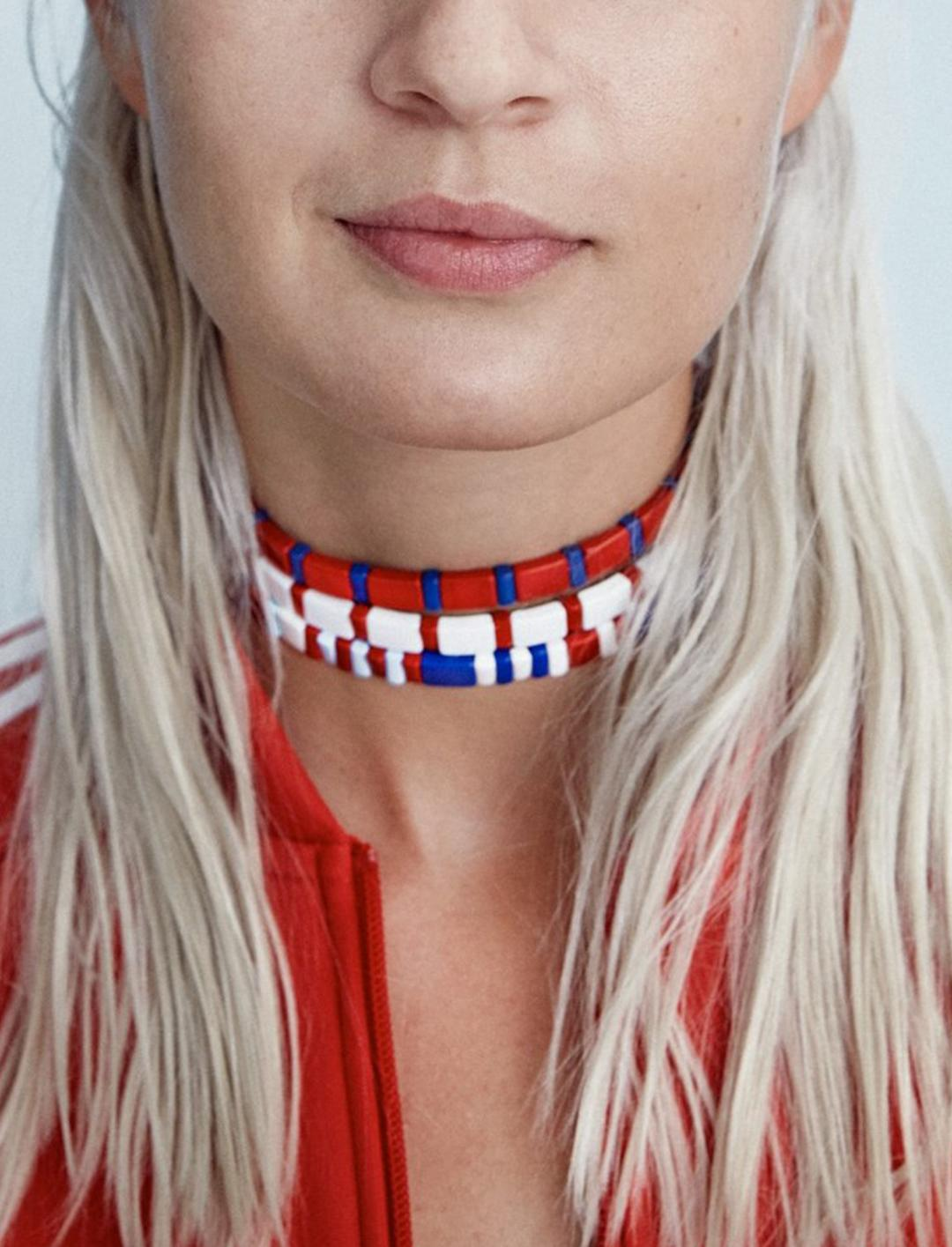 """Pink's Stripes Choker {""""id"""":10,""""product_section_id"""":1,""""name"""":""""Jewellery"""",""""order"""":10} Roxanne Assoulin"""