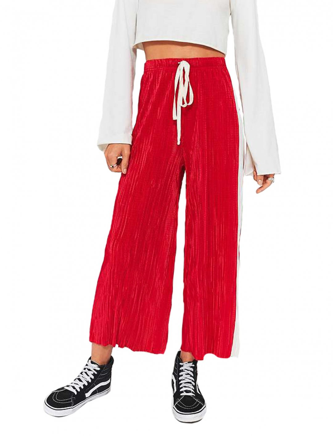 """Red Side Stripe Trousers {""""id"""":5,""""product_section_id"""":1,""""name"""":""""Clothing"""",""""order"""":5} Urban Outfitters"""