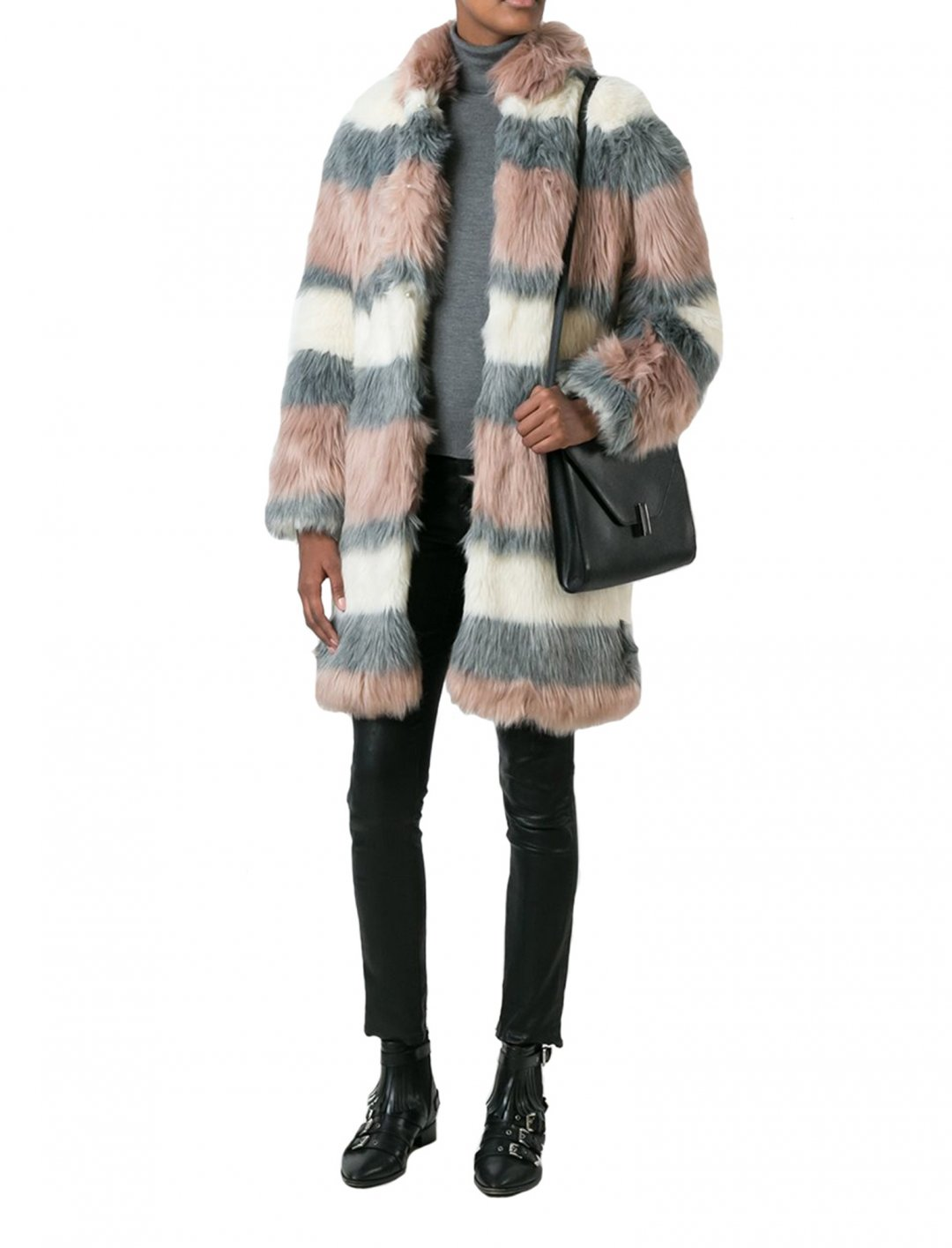 """Striped Fur Coat {""""id"""":5,""""product_section_id"""":1,""""name"""":""""Clothing"""",""""order"""":5} Giamba"""