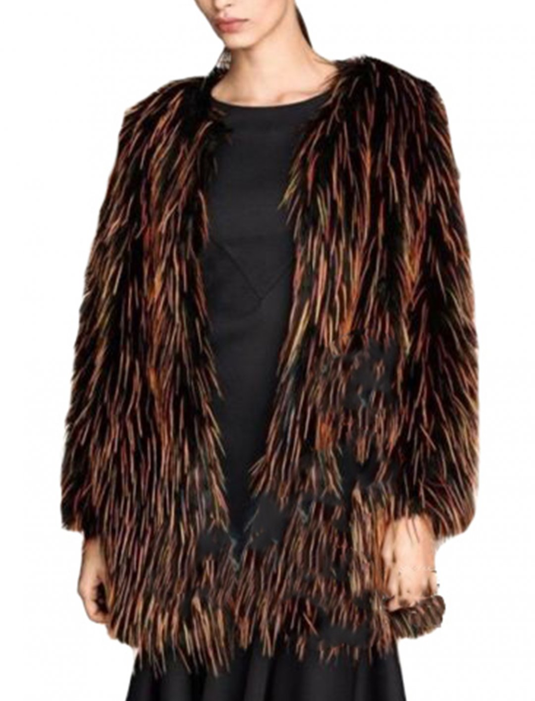 """Multicolor Faux Fur Outwear {""""id"""":5,""""product_section_id"""":1,""""name"""":""""Clothing"""",""""order"""":5} Chic Womens"""