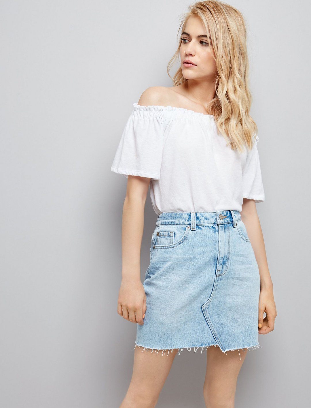 "Asymmetric Hem Denim Skirt {""id"":5,""product_section_id"":1,""name"":""Clothing"",""order"":5} New Look"