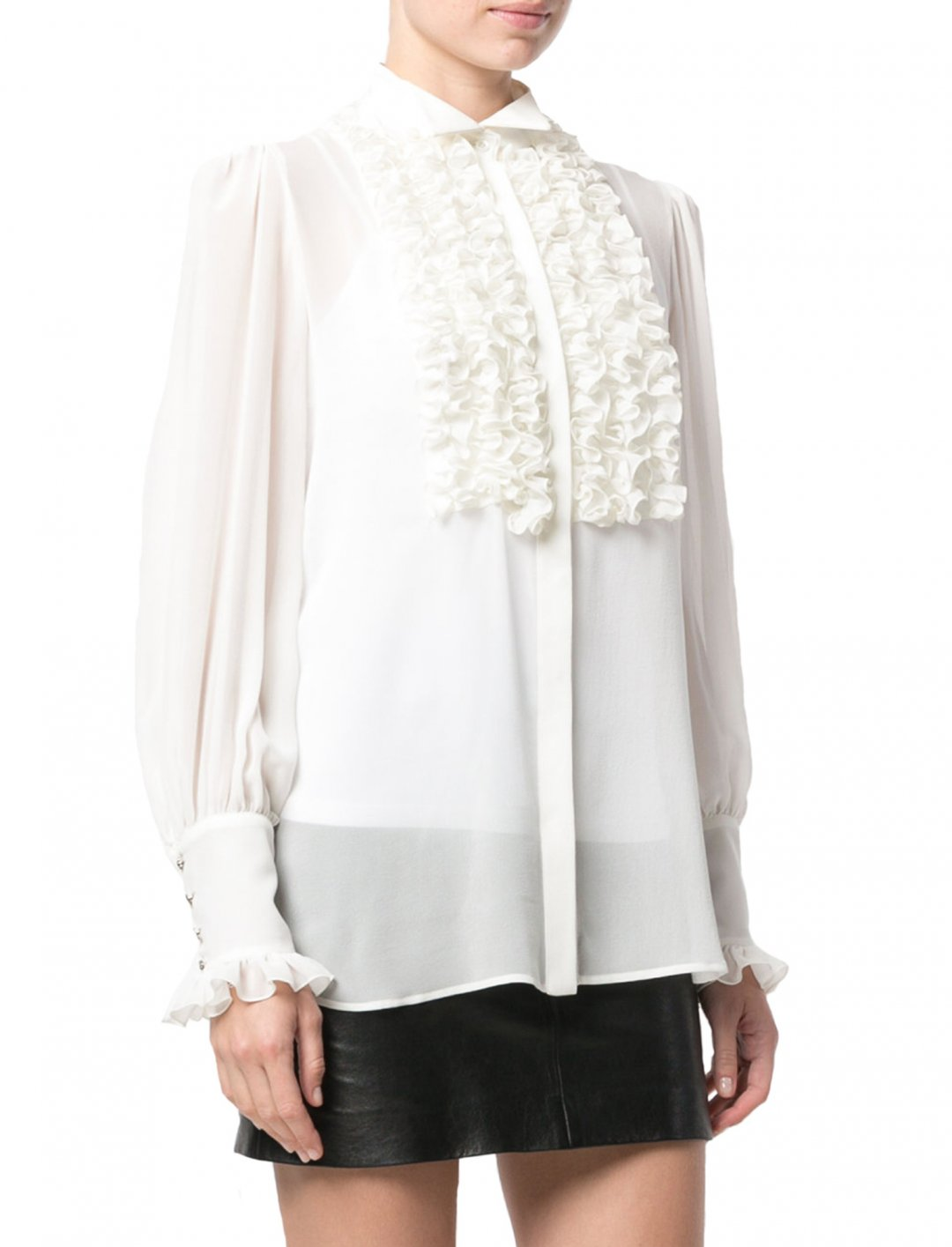 "White Frill Bib Blouse {""id"":5,""product_section_id"":1,""name"":""Clothing"",""order"":5} REDEMPTION"