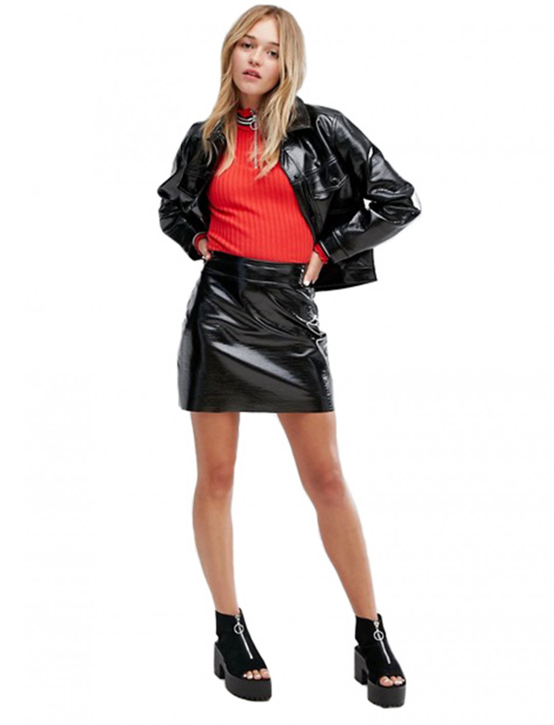 "Vinyl Mini Skirt {""id"":5,""product_section_id"":1,""name"":""Clothing"",""order"":5} Monki"