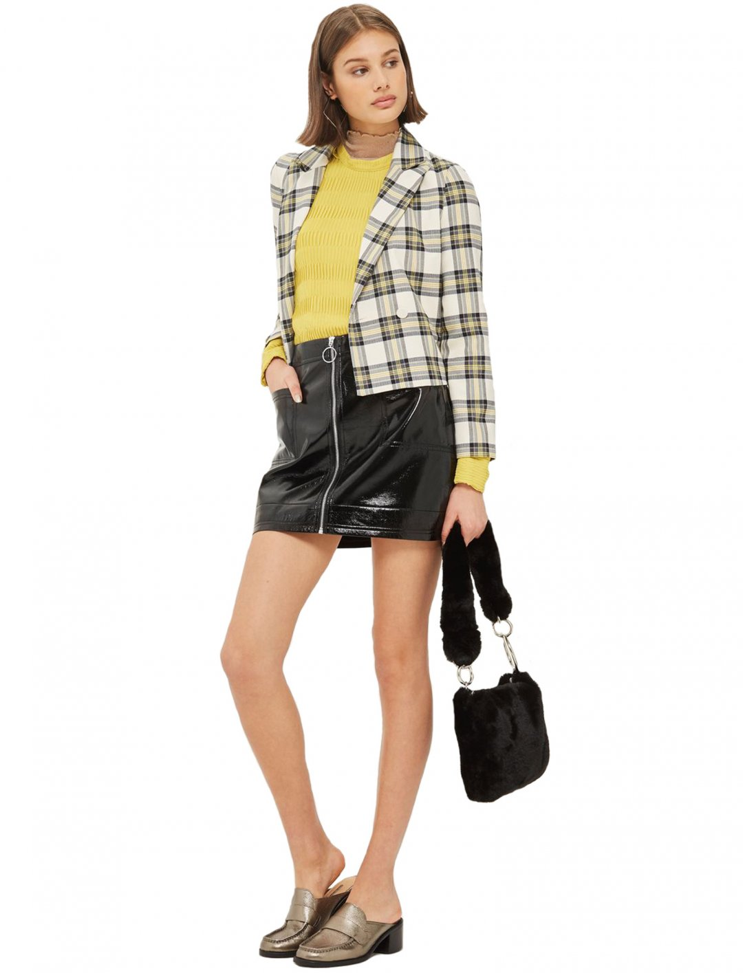 "Zip Through Vinyl Mini Skirt {""id"":5,""product_section_id"":1,""name"":""Clothing"",""order"":5} Topshop"