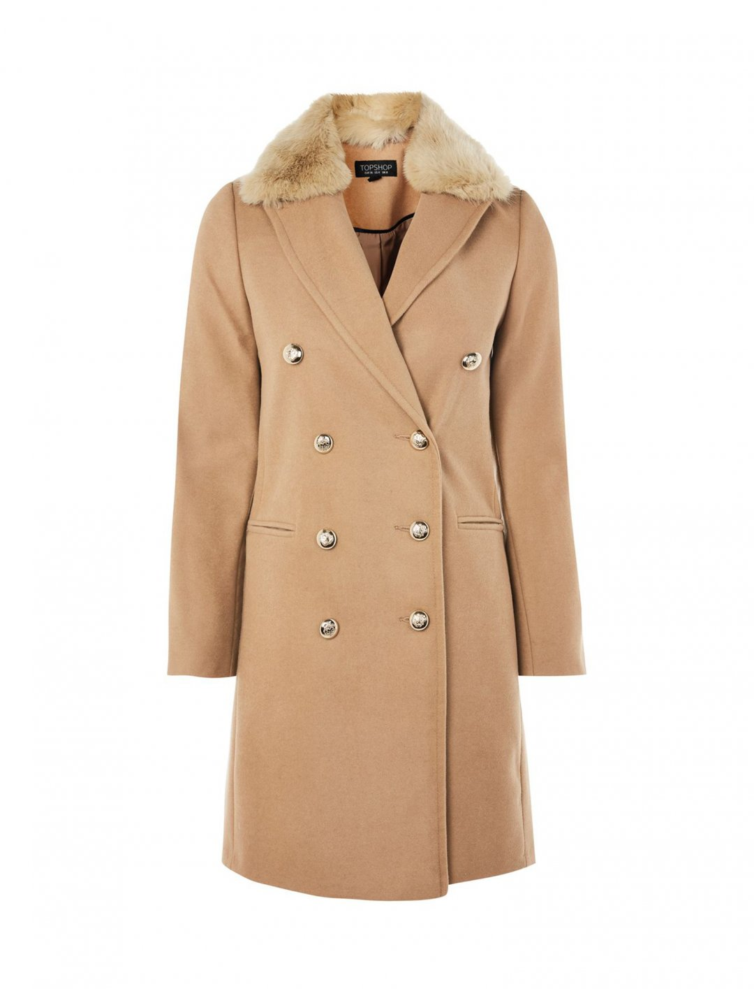 "Faux Fur Collar Coat {""id"":5,""product_section_id"":1,""name"":""Clothing"",""order"":5} Topshop"