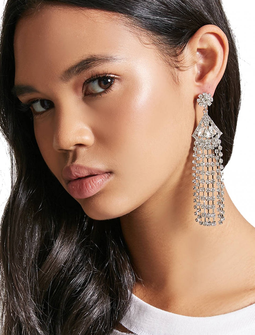 "Rhinestone Geo Duster Earrings {""id"":10,""product_section_id"":1,""name"":""Jewellery"",""order"":10} Forever1"