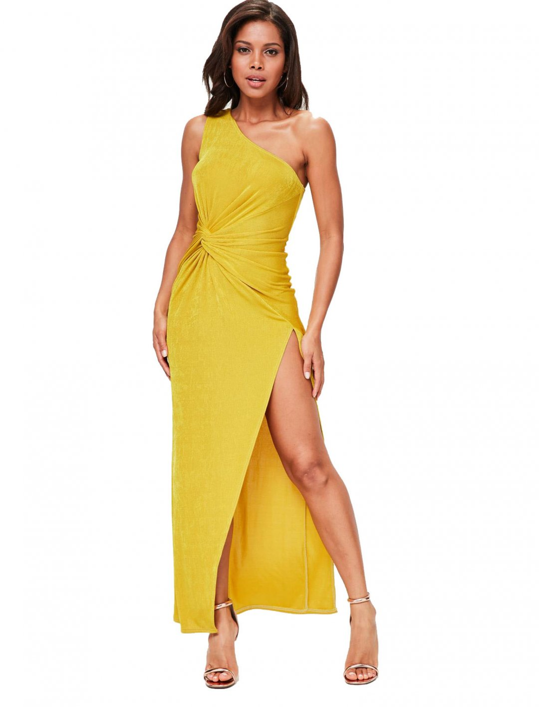 "Yellow One Shoulder Dress {""id"":5,""product_section_id"":1,""name"":""Clothing"",""order"":5} Misguided"