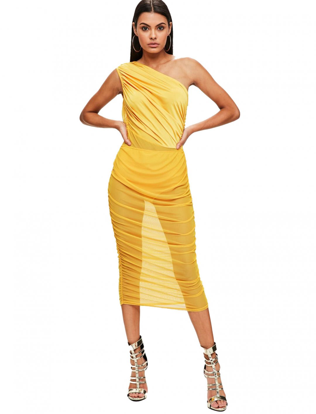 "Yellow Mesh&Slinky Dress {""id"":5,""product_section_id"":1,""name"":""Clothing"",""order"":5} Missguided"