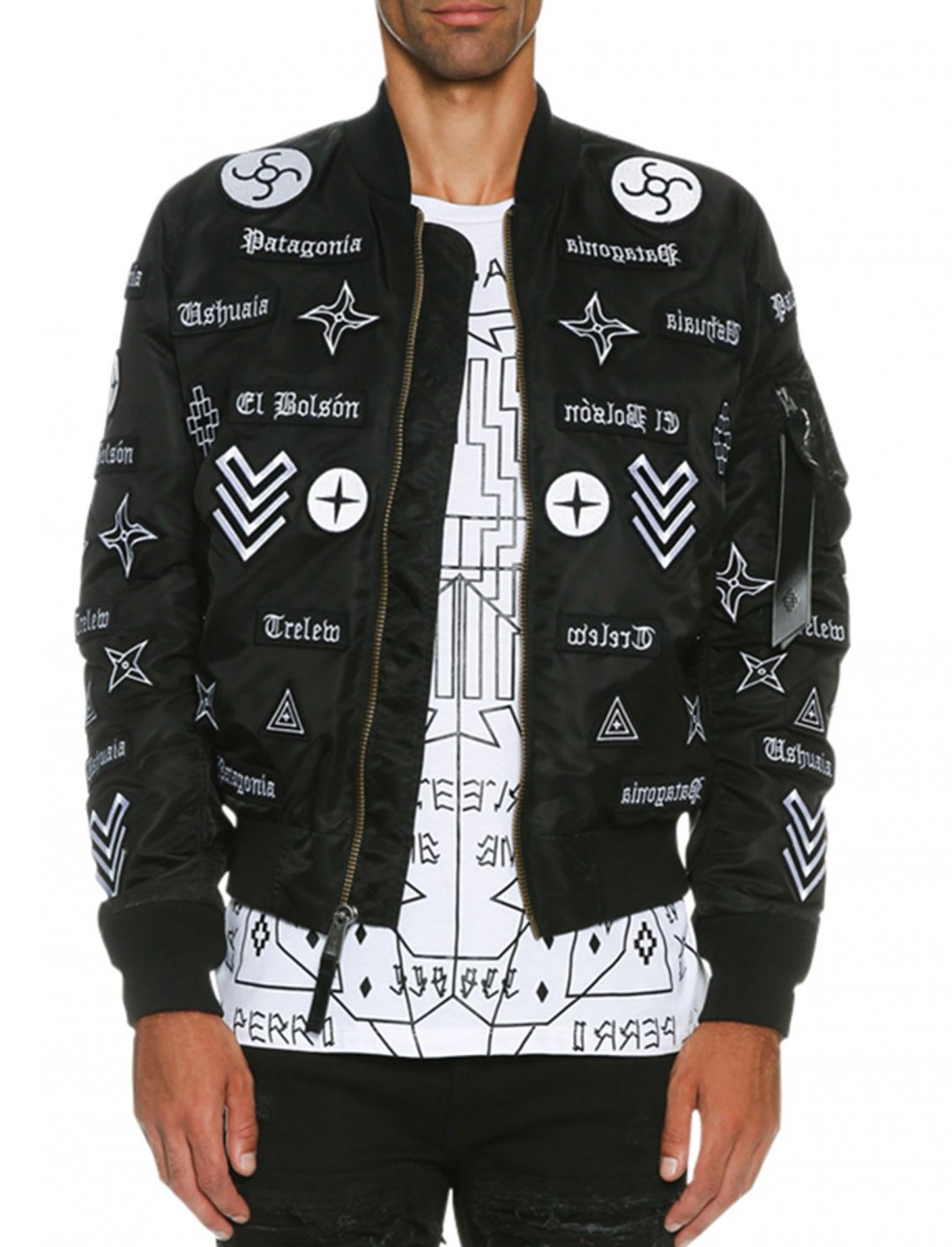 """Mirrored-Patch Bomber Jacket {""""id"""":5,""""product_section_id"""":1,""""name"""":""""Clothing"""",""""order"""":5} Marcelo Burlon"""
