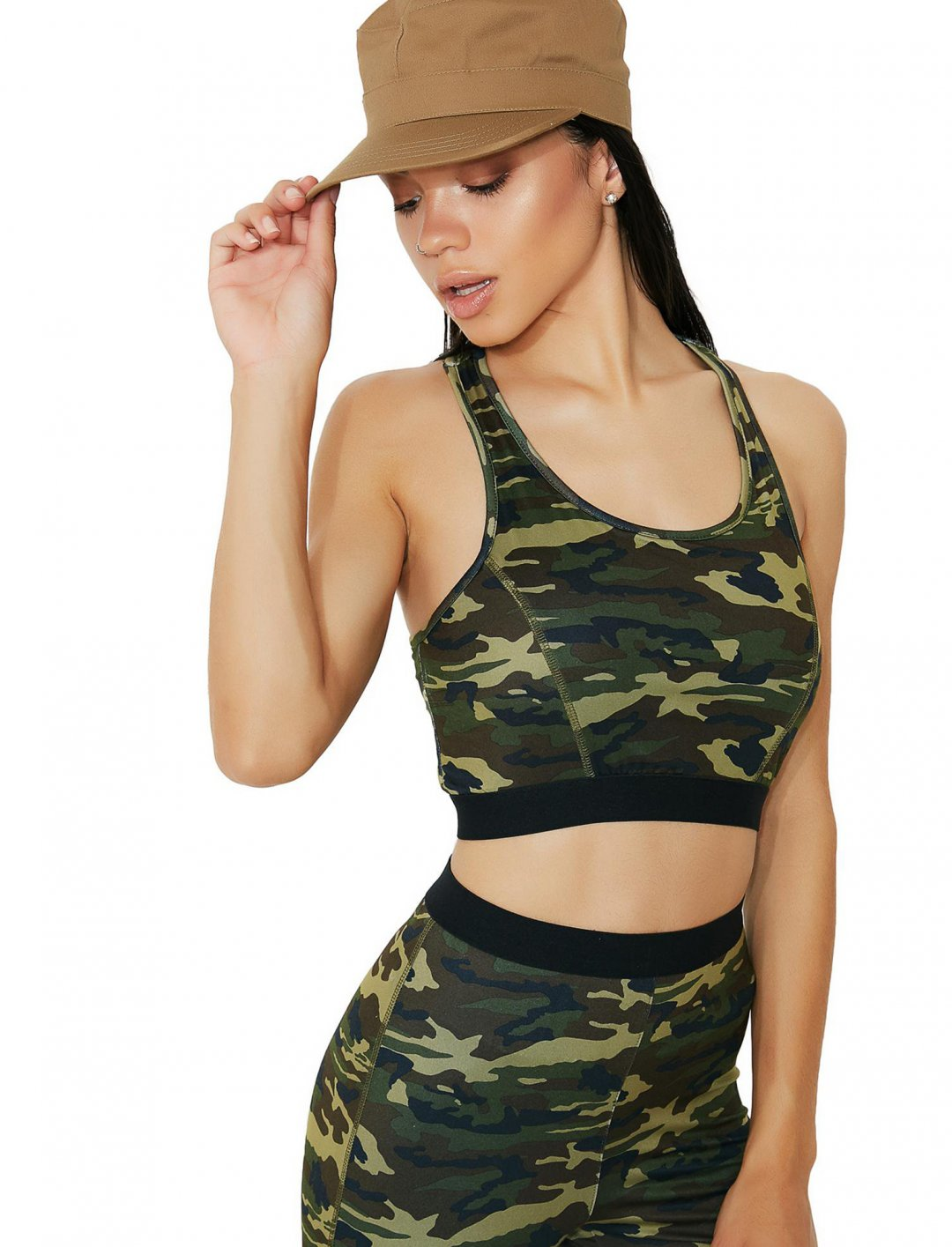 """Camo Bra Top {""""id"""":5,""""product_section_id"""":1,""""name"""":""""Clothing"""",""""order"""":5} Dollskill"""