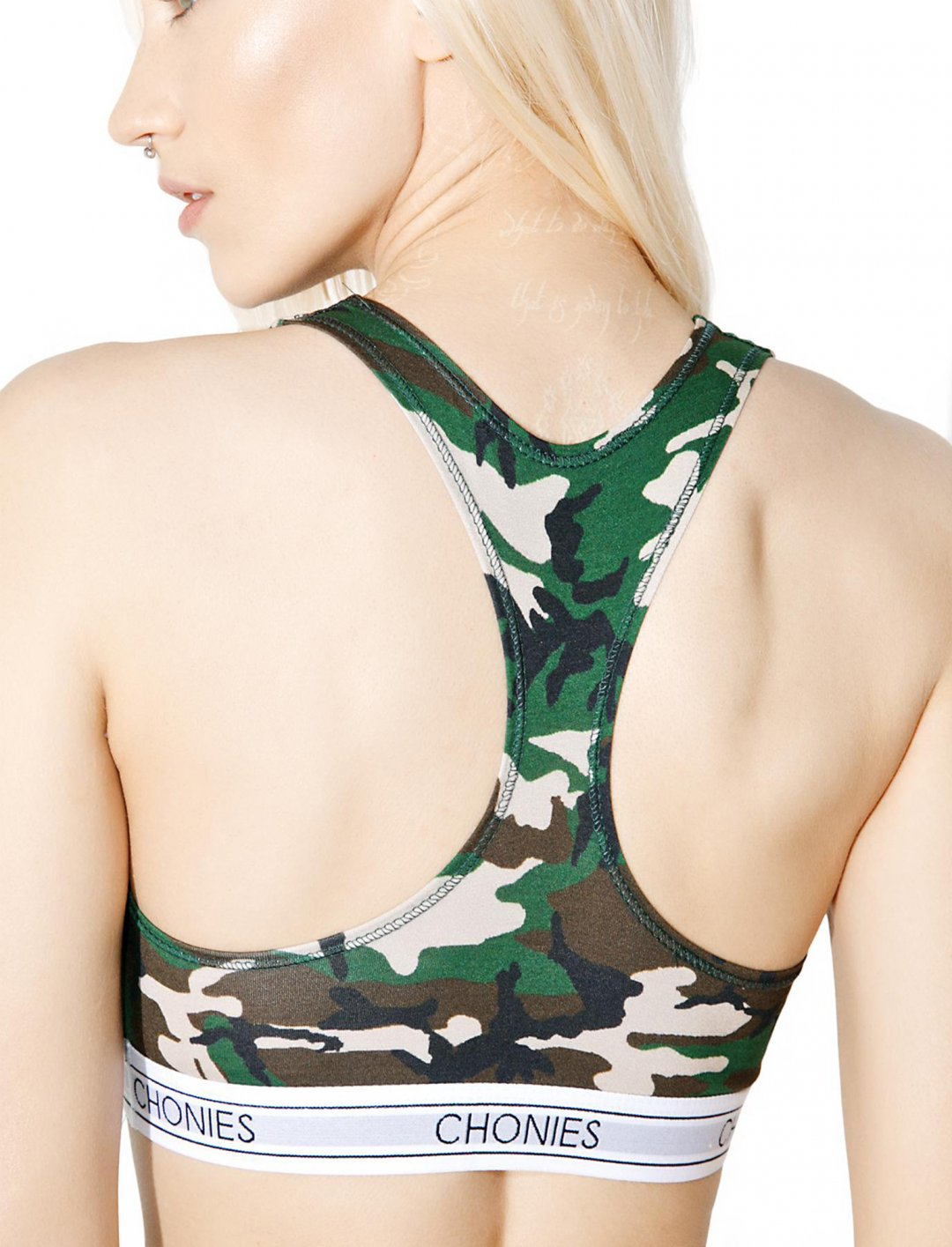 """Camo Sports Bra {""""id"""":5,""""product_section_id"""":1,""""name"""":""""Clothing"""",""""order"""":5} Chonies"""