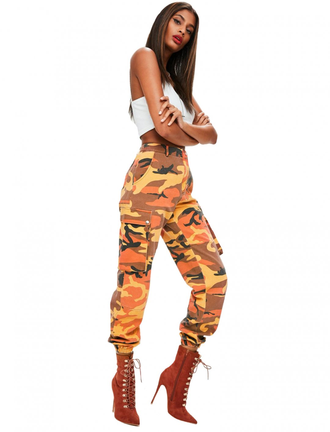 """Orange Camo Print Trousers {""""id"""":5,""""product_section_id"""":1,""""name"""":""""Clothing"""",""""order"""":5} Missguided"""