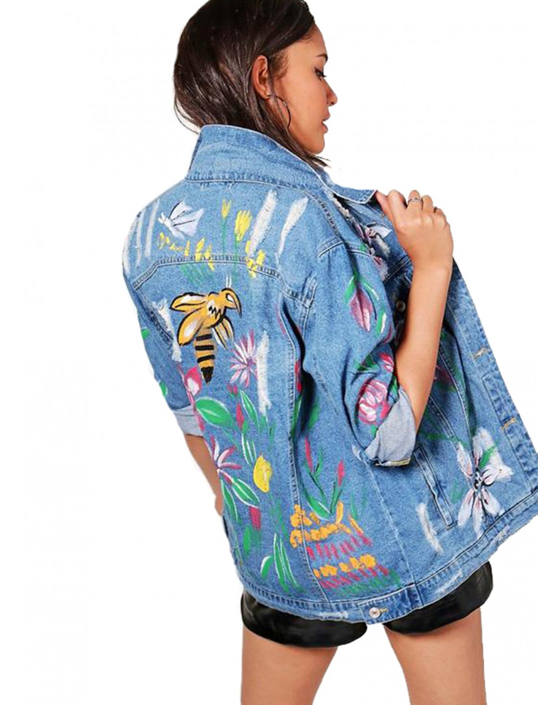 """Hand Painted Denim Jacket {""""id"""":5,""""product_section_id"""":1,""""name"""":""""Clothing"""",""""order"""":5} Boohoo"""