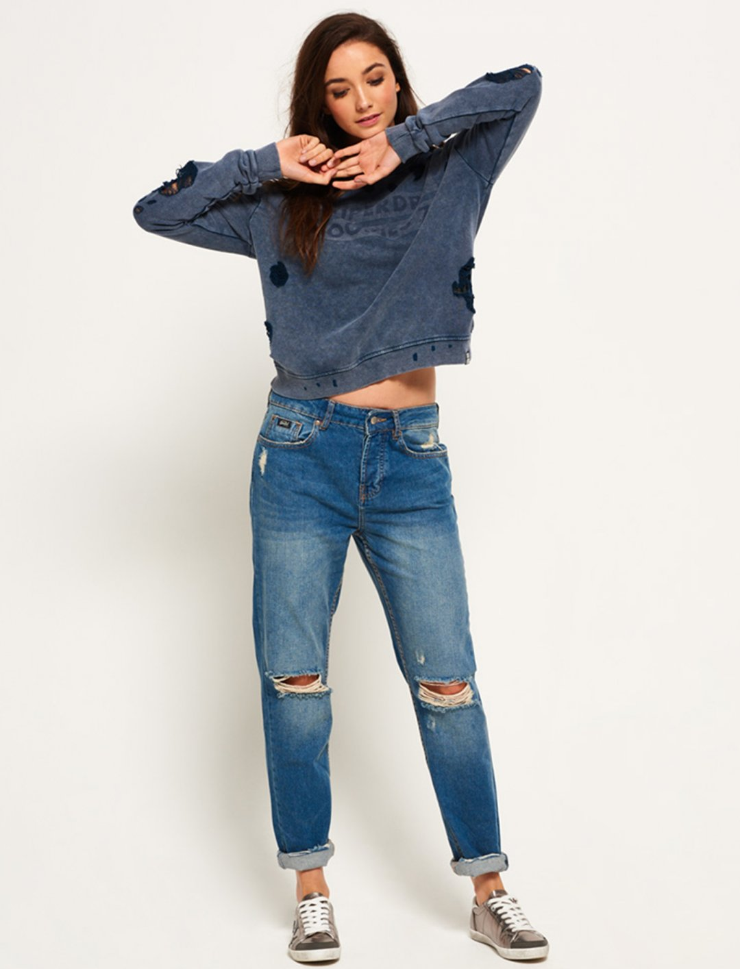 Distress Boxy Sweatshirt Clothing Super Dry