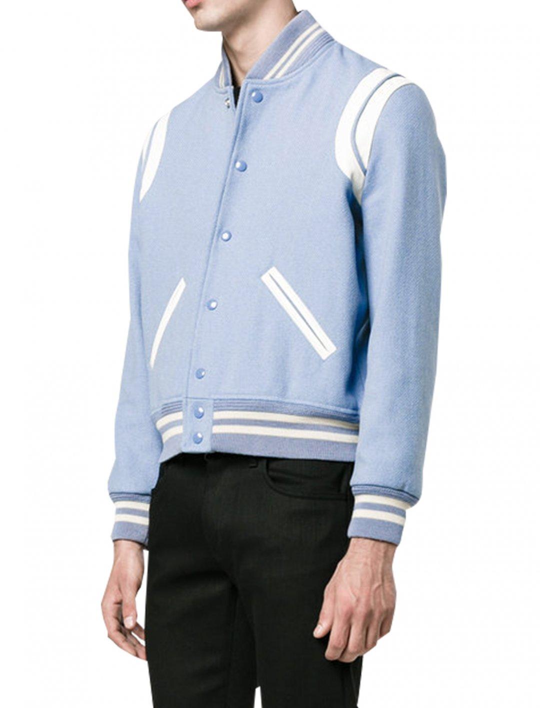 "Leather-Inset Varsity Jacket {""id"":5,""product_section_id"":1,""name"":""Clothing"",""order"":5} YSL"