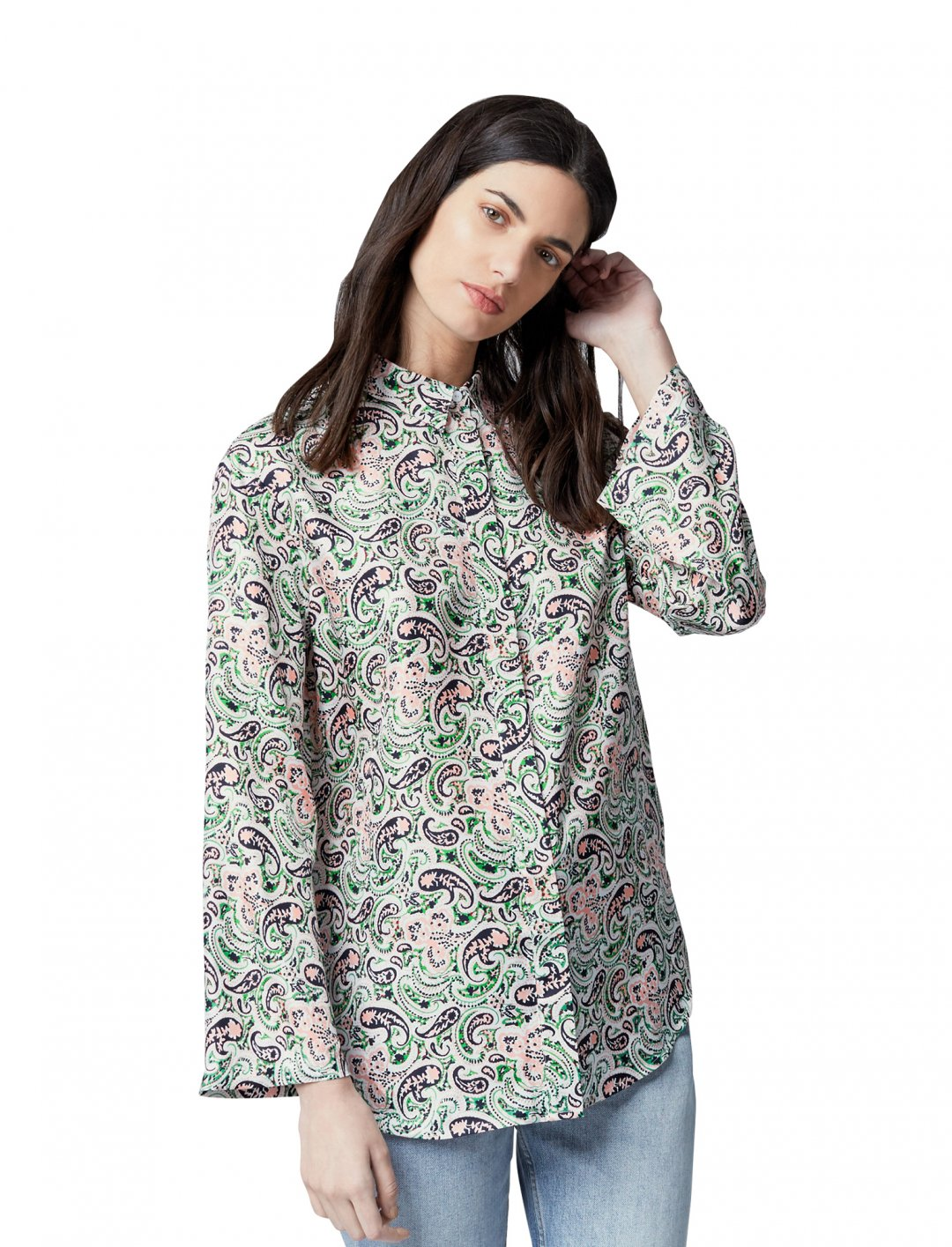 """Paisley Silk Shirt {""""id"""":5,""""product_section_id"""":1,""""name"""":""""Clothing"""",""""order"""":5} Warehouse"""
