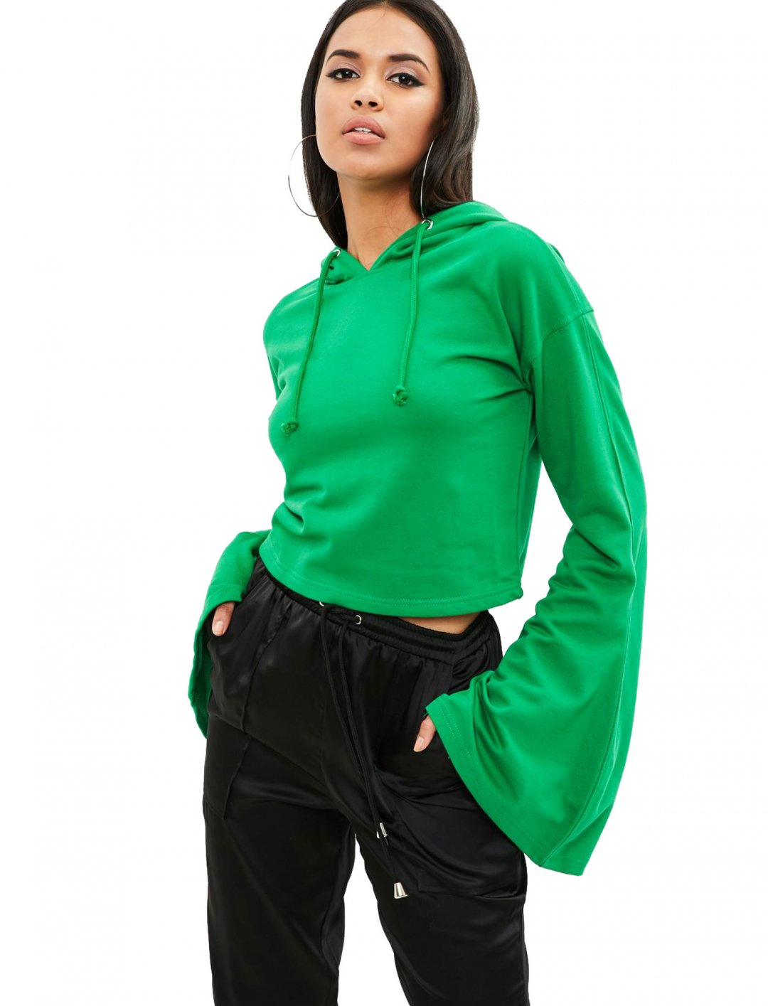 """Cropped Flared Sleeve Hoodie {""""id"""":5,""""product_section_id"""":1,""""name"""":""""Clothing"""",""""order"""":5} Missguided"""