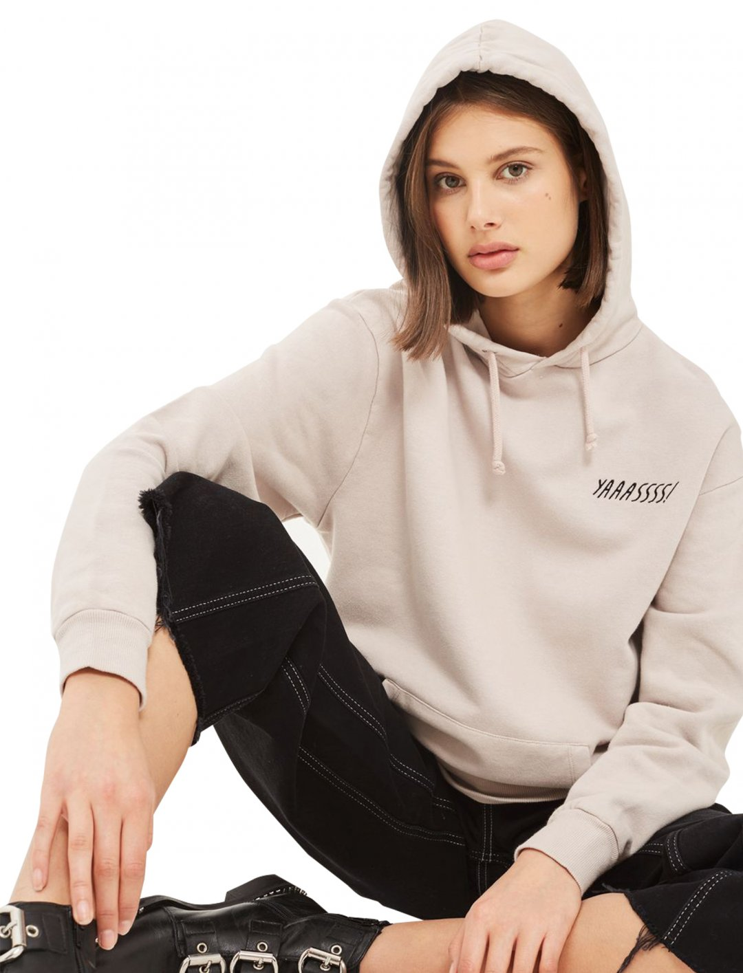 """'Yaasss!' Oversized Hoodie {""""id"""":5,""""product_section_id"""":1,""""name"""":""""Clothing"""",""""order"""":5} Topshop"""