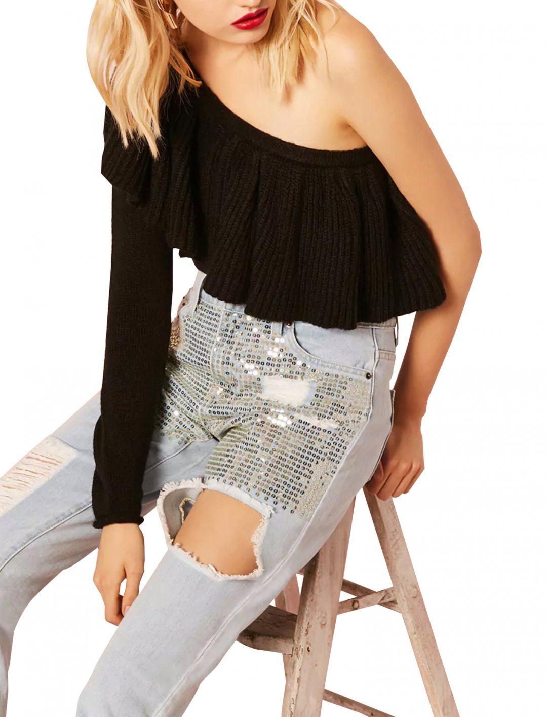 """Sequin Boyfriend Ankle Jeans {""""id"""":5,""""product_section_id"""":1,""""name"""":""""Clothing"""",""""order"""":5} Forever21"""