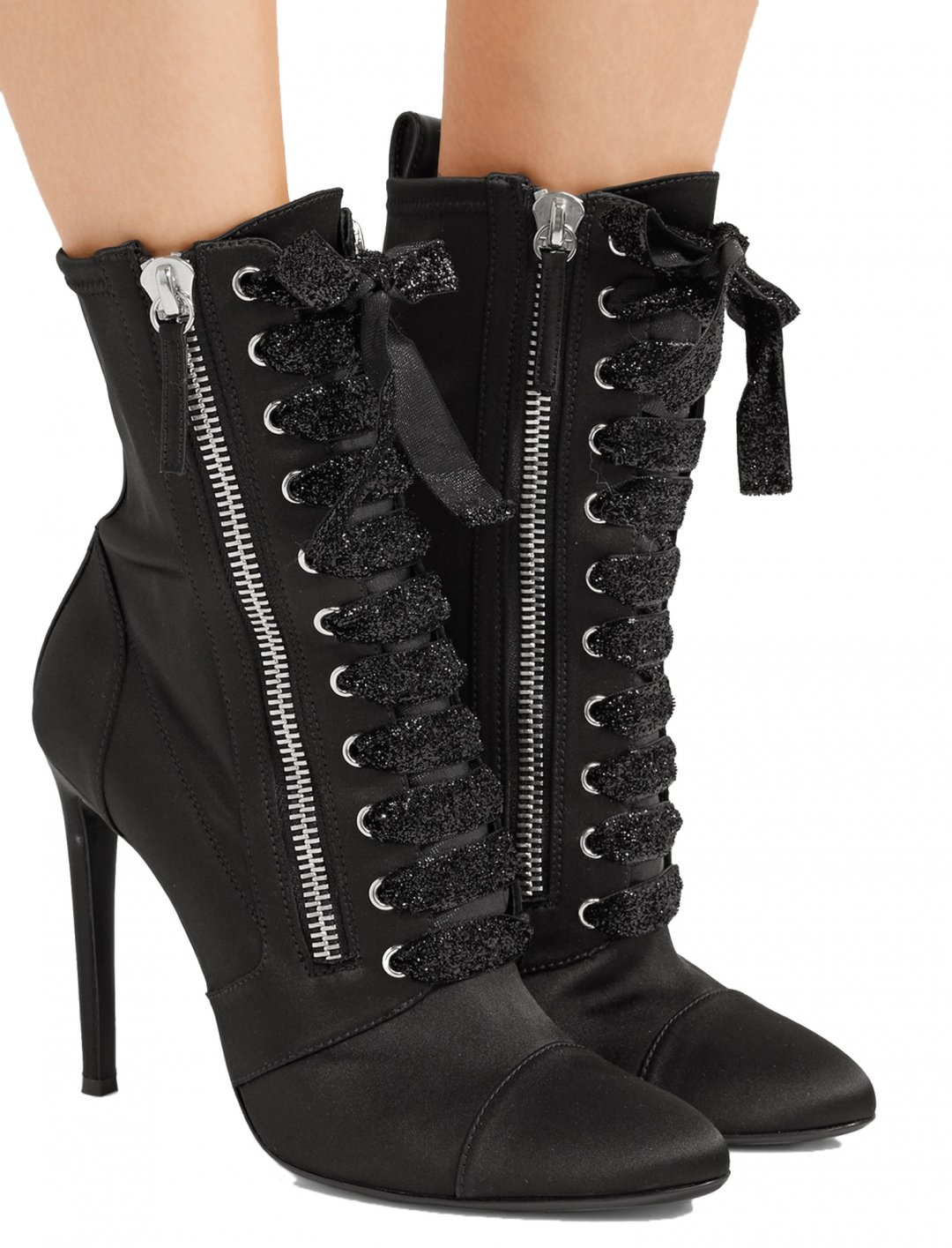 "Camila's Black Satin Boot {""id"":12,""product_section_id"":1,""name"":""Shoes"",""order"":12} Giuseppe Zanotti"
