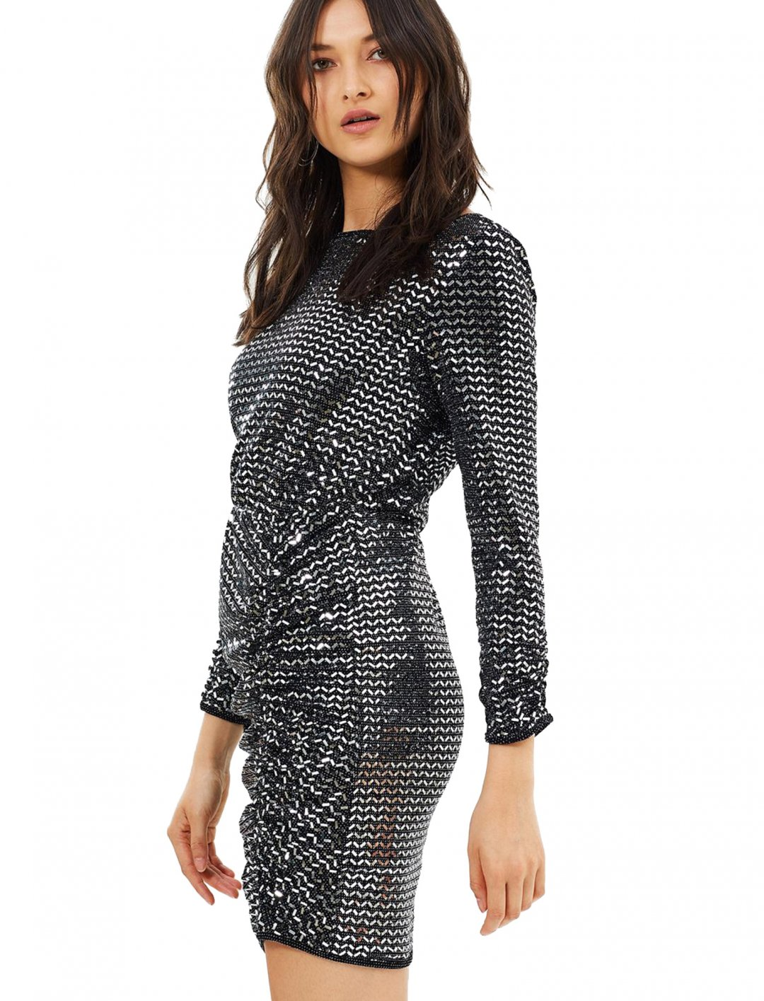 "Mirror Metallic Rouched Dress {""id"":5,""product_section_id"":1,""name"":""Clothing"",""order"":5} Miss Selfridge"