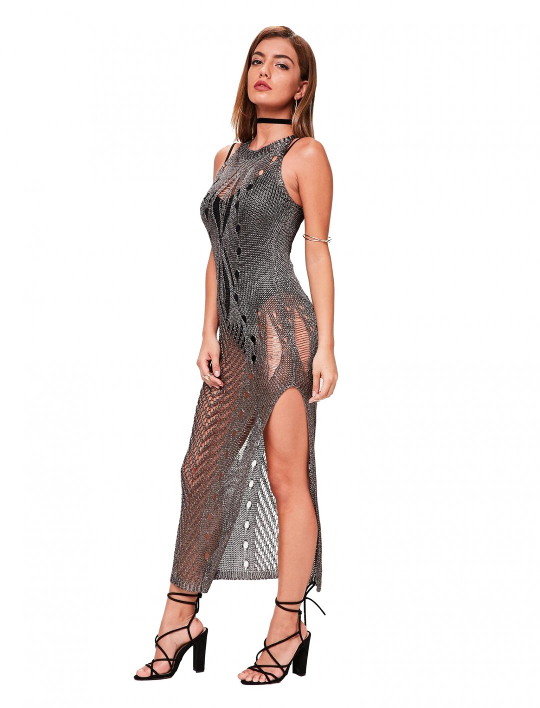 "Metallic Knitted Dress {""id"":5,""product_section_id"":1,""name"":""Clothing"",""order"":5} Missguided"