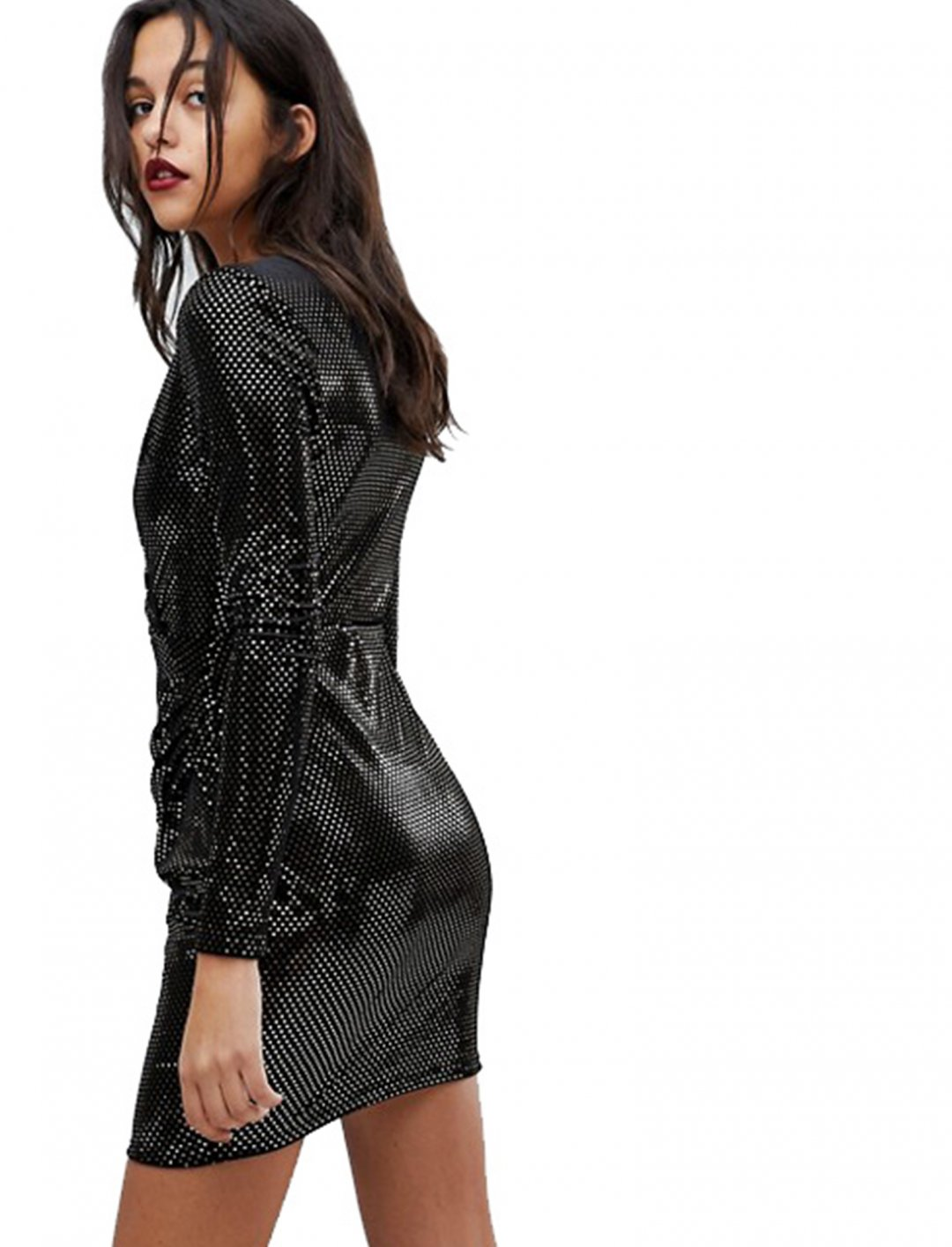 "Metallic Spot Bodycon Dress {""id"":5,""product_section_id"":1,""name"":""Clothing"",""order"":5} River Island"