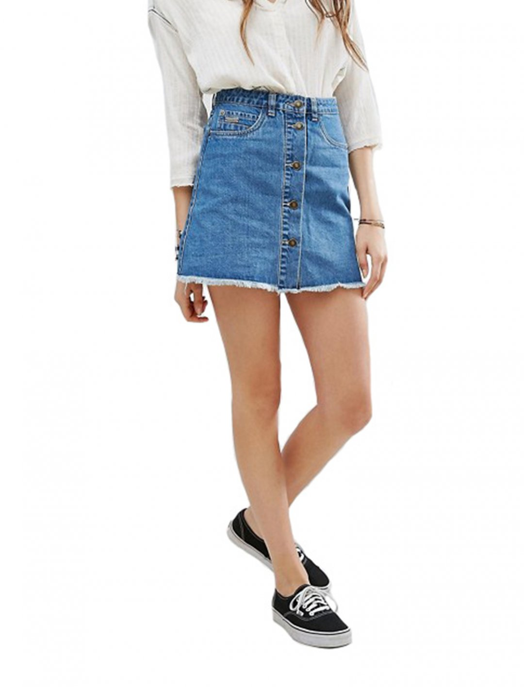 """Denim Skirt with Buttons {""""id"""":5,""""product_section_id"""":1,""""name"""":""""Clothing"""",""""order"""":5} Gandys"""