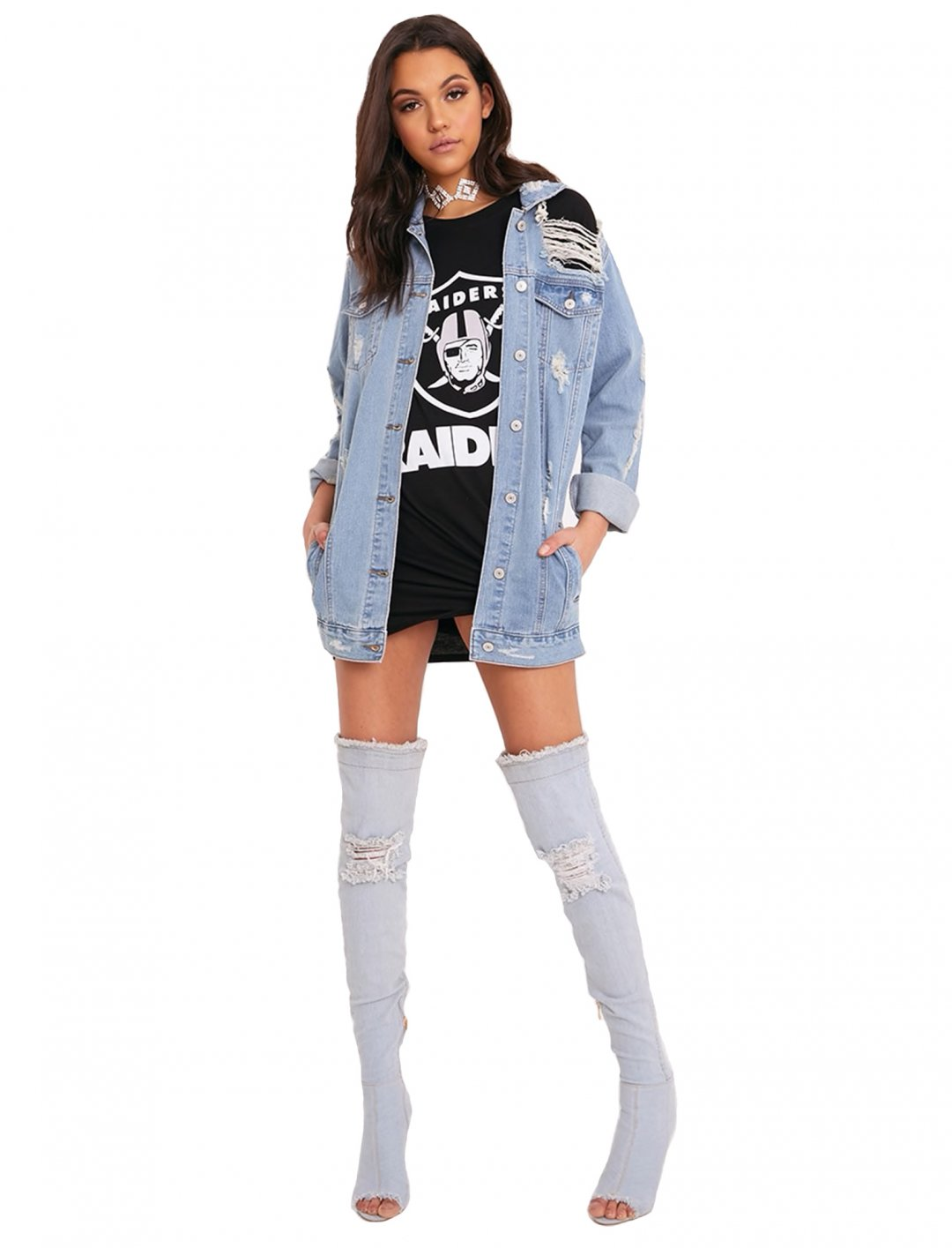 """Distressed Denim Jacket {""""id"""":5,""""product_section_id"""":1,""""name"""":""""Clothing"""",""""order"""":5} PLT"""