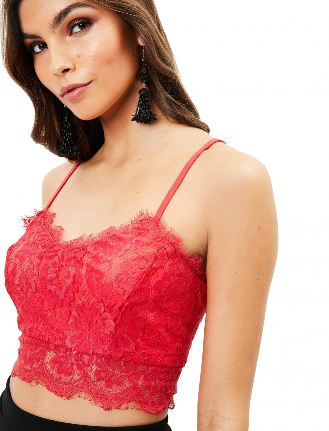"""Red Strappy Lace Bralet {""""id"""":5,""""product_section_id"""":1,""""name"""":""""Clothing"""",""""order"""":5} Missguided"""
