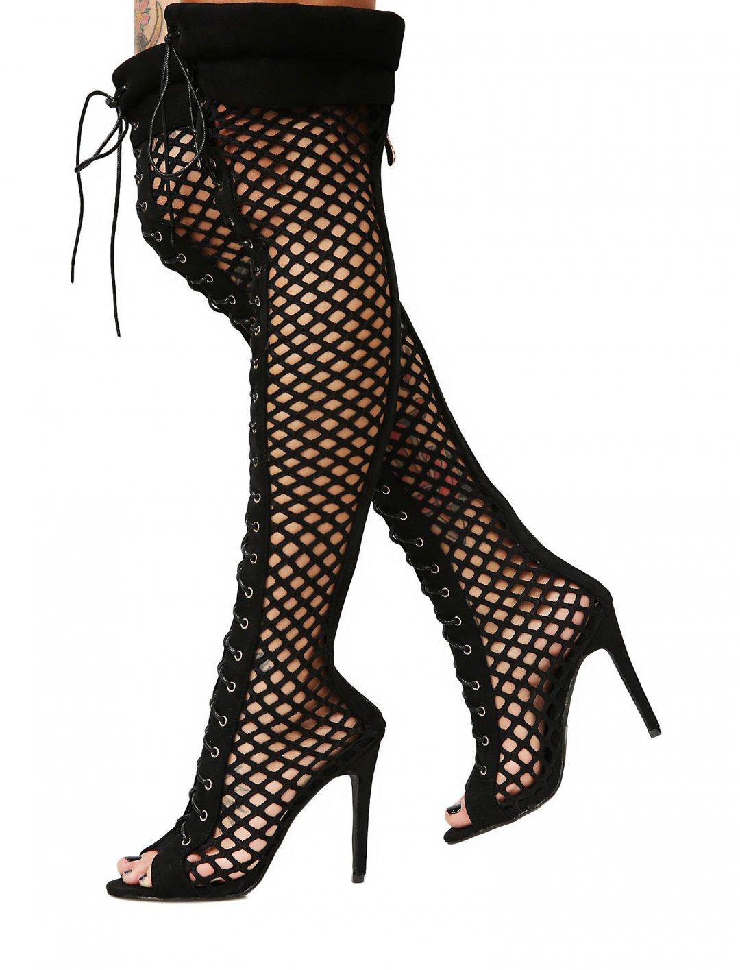 Fishnet Thigh High Boots Shoes Dollskill