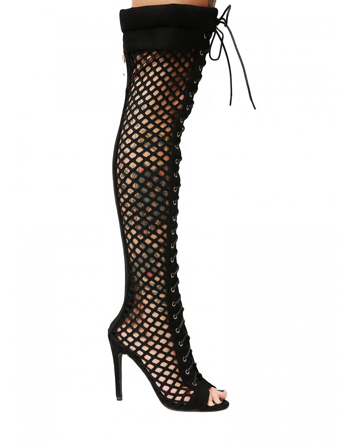 """Fishnet Thigh High Boots {""""id"""":12,""""product_section_id"""":1,""""name"""":""""Shoes"""",""""order"""":12} Dollskill"""