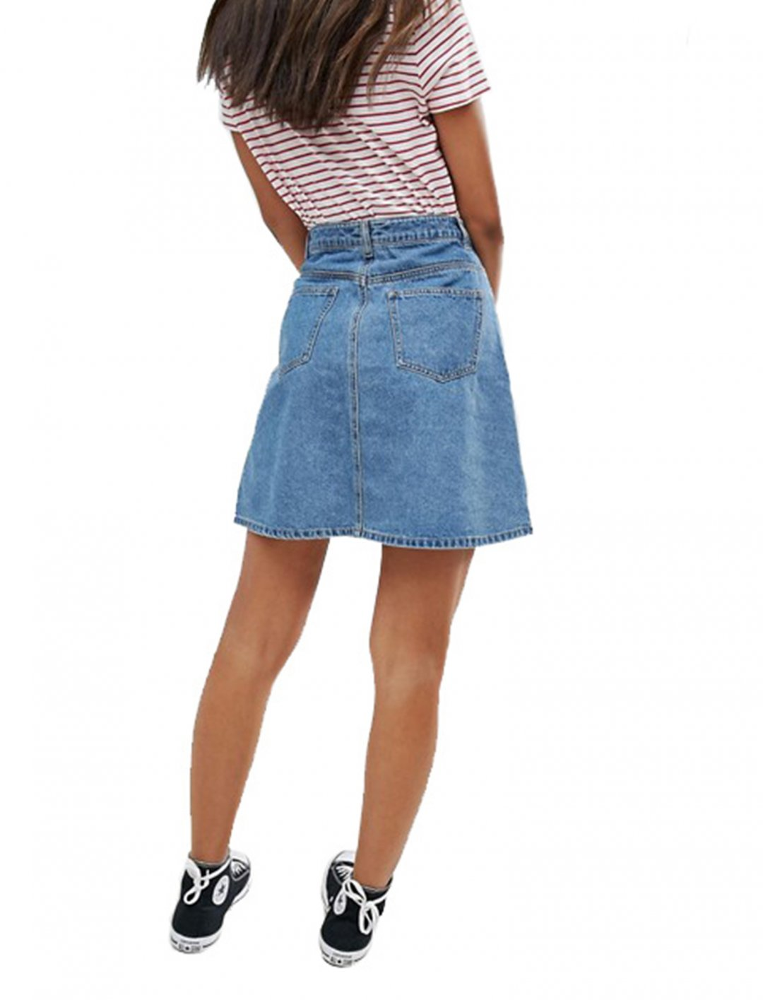 """Button Front Denim Skirt {""""id"""":5,""""product_section_id"""":1,""""name"""":""""Clothing"""",""""order"""":5} Noisy May"""