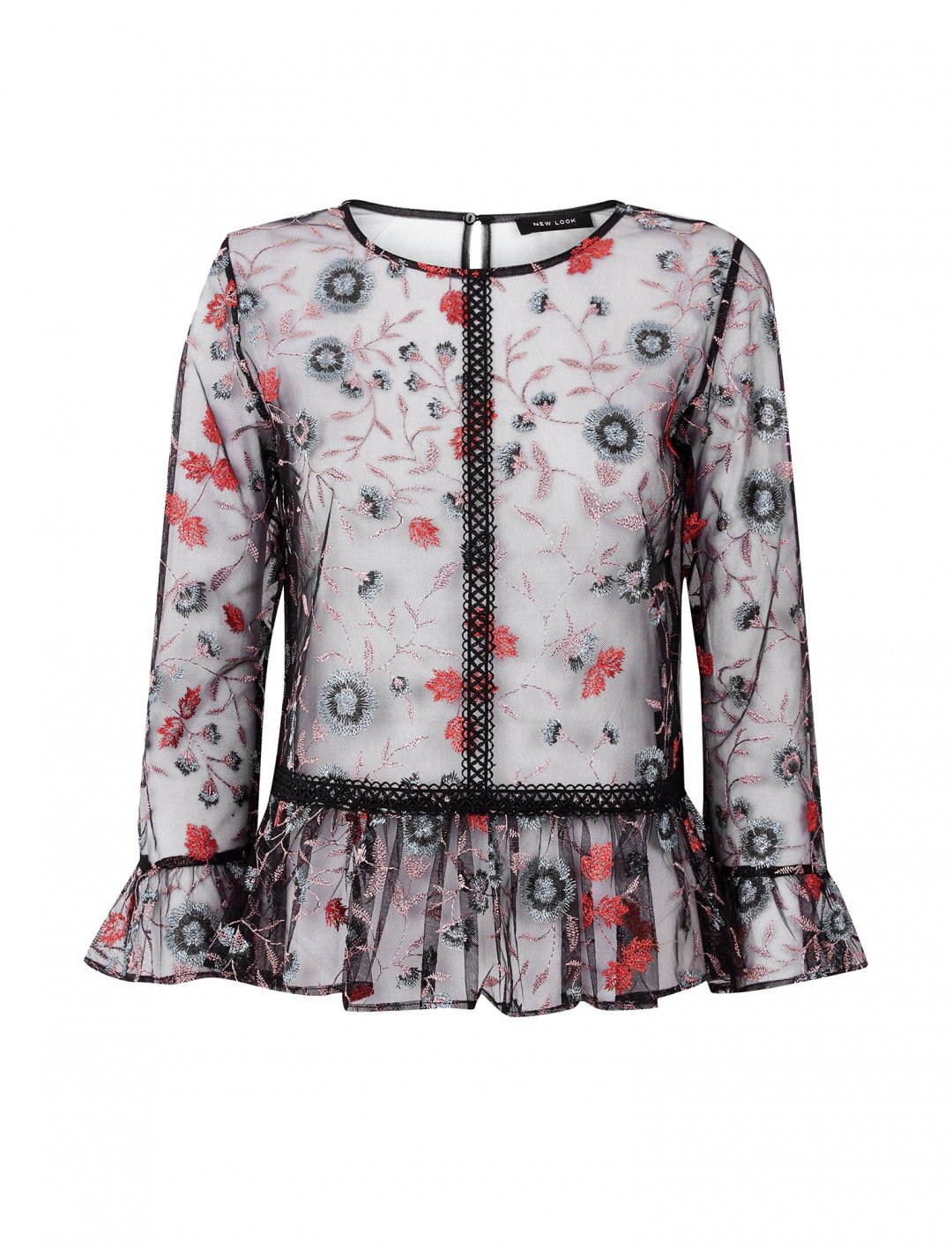 """Floral Embroidered Mesh Peplum Top {""""id"""":5,""""product_section_id"""":1,""""name"""":""""Clothing"""",""""order"""":5} New Look"""