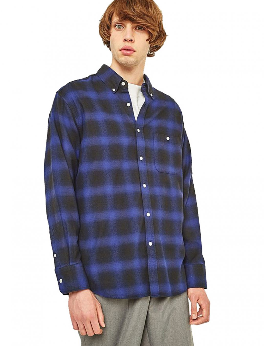 "Hombre Blue Checked Shirt {""id"":5,""product_section_id"":1,""name"":""Clothing"",""order"":5} Urban Outfitters"