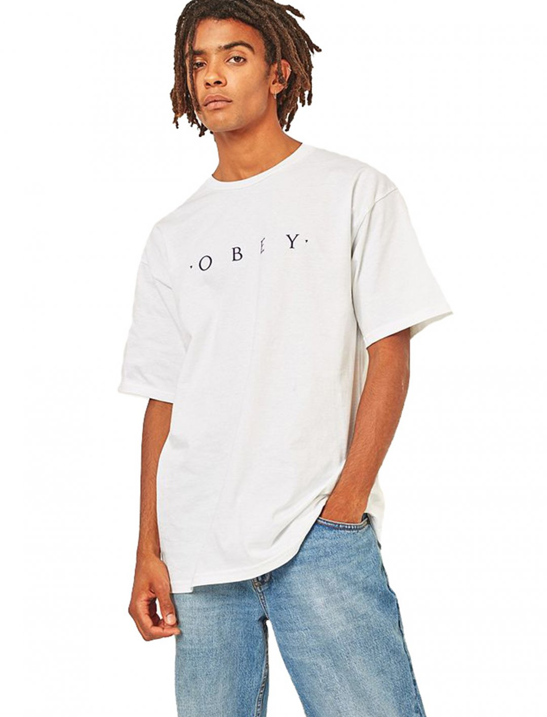 "Novel White T-shirt {""id"":5,""product_section_id"":1,""name"":""Clothing"",""order"":5} Obey"