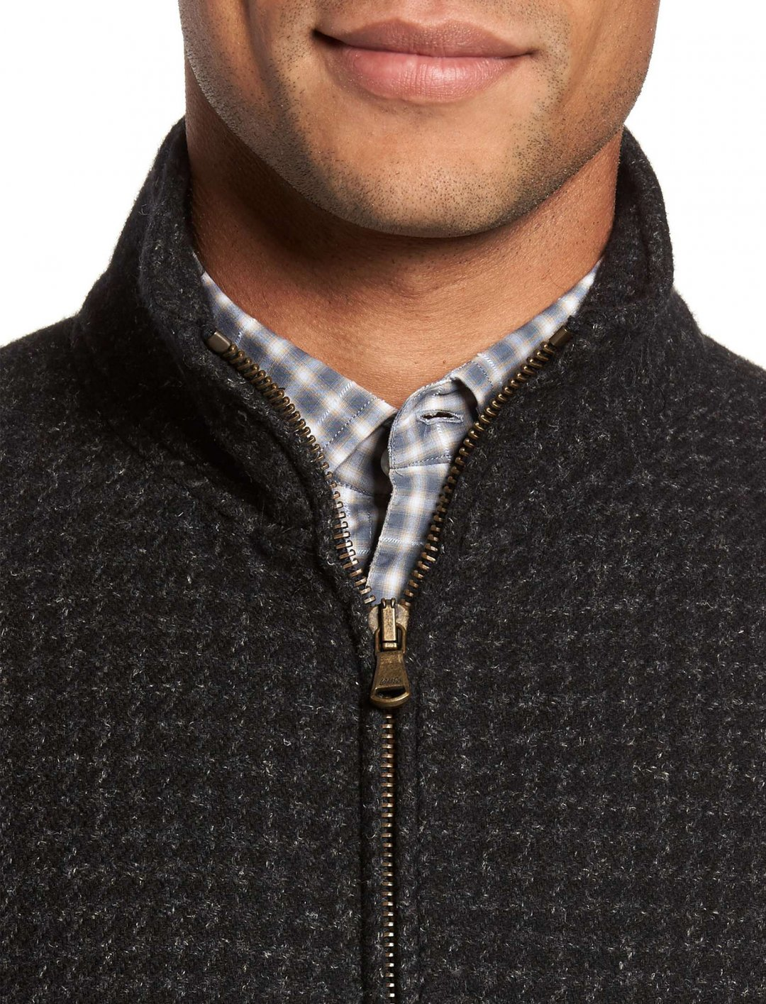 "Wool Blend Zip Front Jacket {""id"":5,""product_section_id"":1,""name"":""Clothing"",""order"":5} Billy Reid"