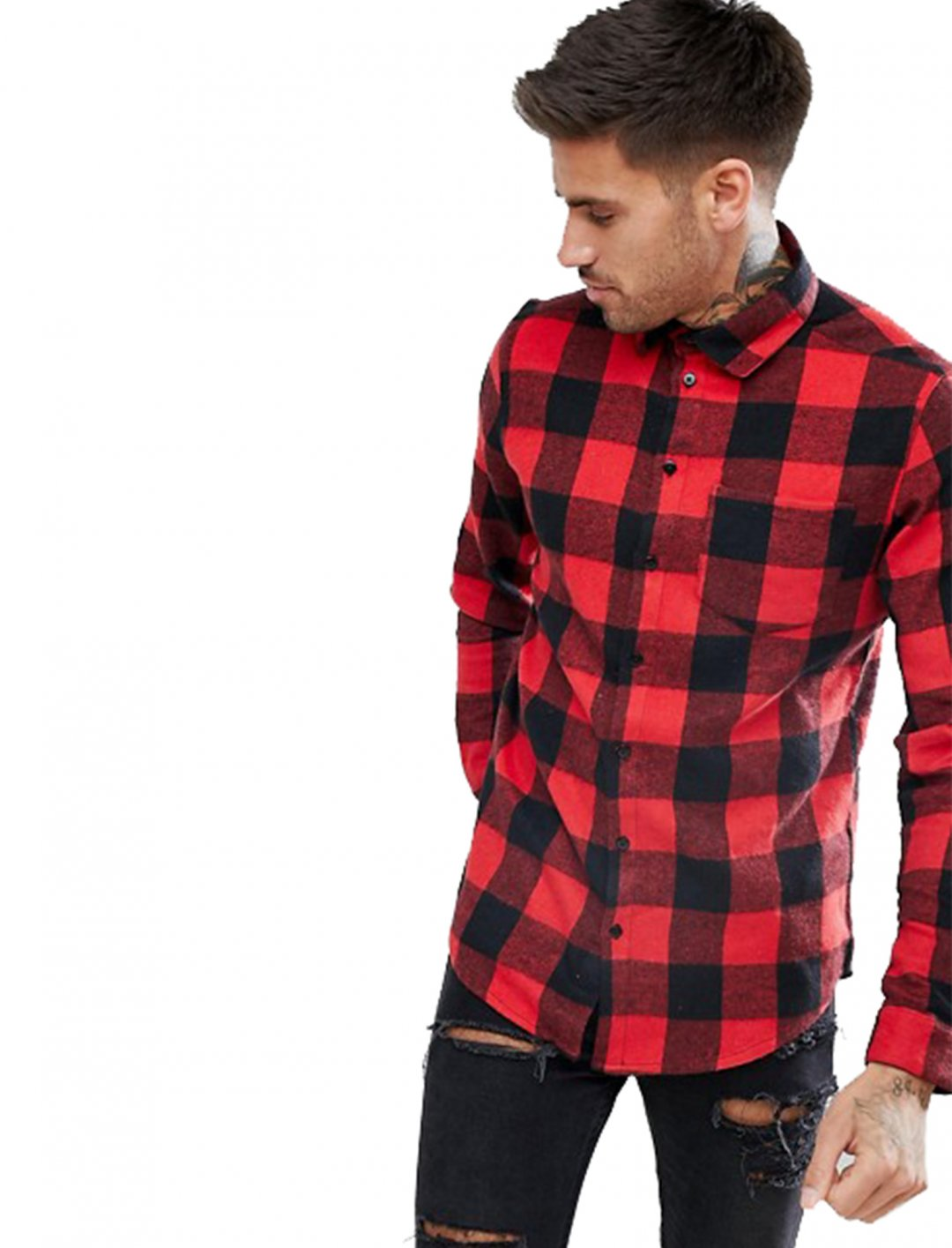 "Shirt In Red Check {""id"":5,""product_section_id"":1,""name"":""Clothing"",""order"":5} boohooMAN"