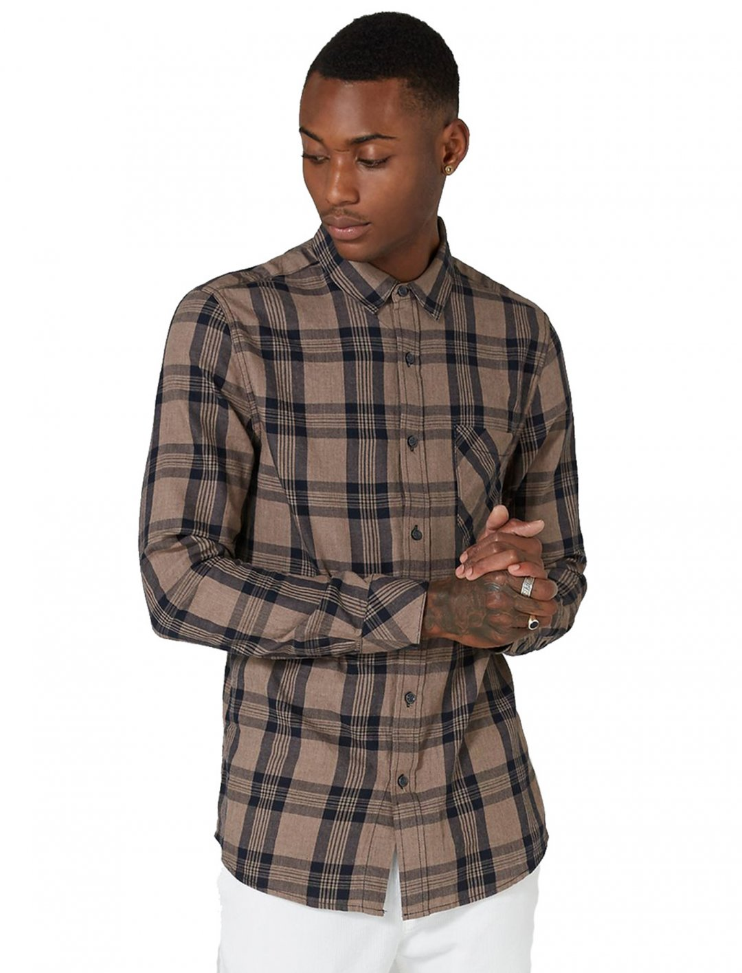 "Stone And Navy Check Shirt {""id"":5,""product_section_id"":1,""name"":""Clothing"",""order"":5} Topman"