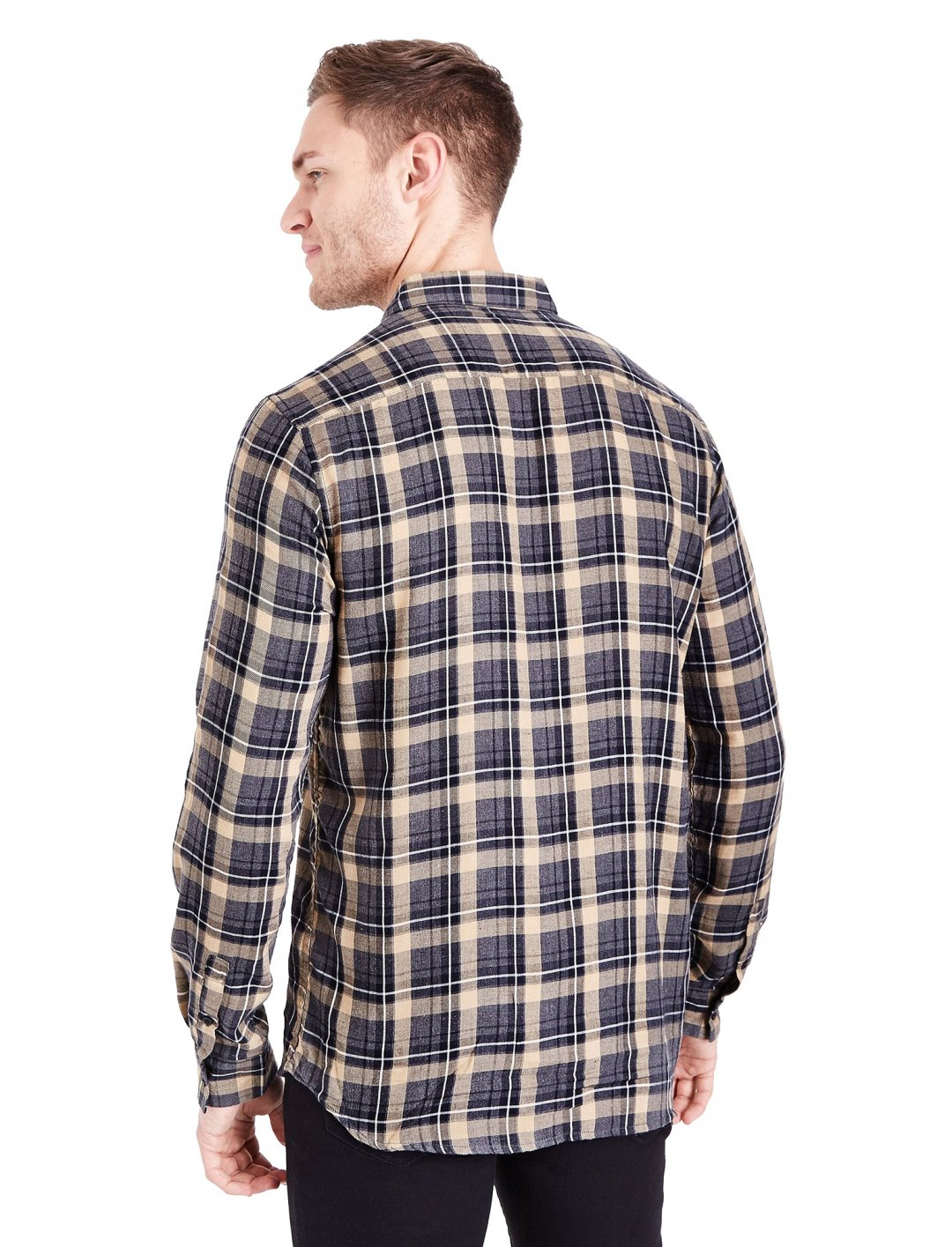 "Camel Check Collared Shirt {""id"":5,""product_section_id"":1,""name"":""Clothing"",""order"":5} New Look"