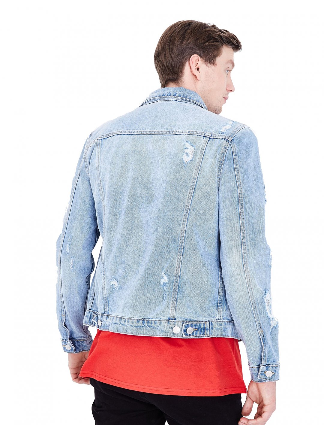 "Blue Ripped Denim Jacket {""id"":5,""product_section_id"":1,""name"":""Clothing"",""order"":5} New Look"