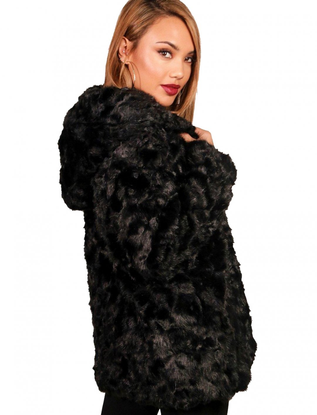 "Hooded Faux Fur Coat {""id"":5,""product_section_id"":1,""name"":""Clothing"",""order"":5} Boohoo"