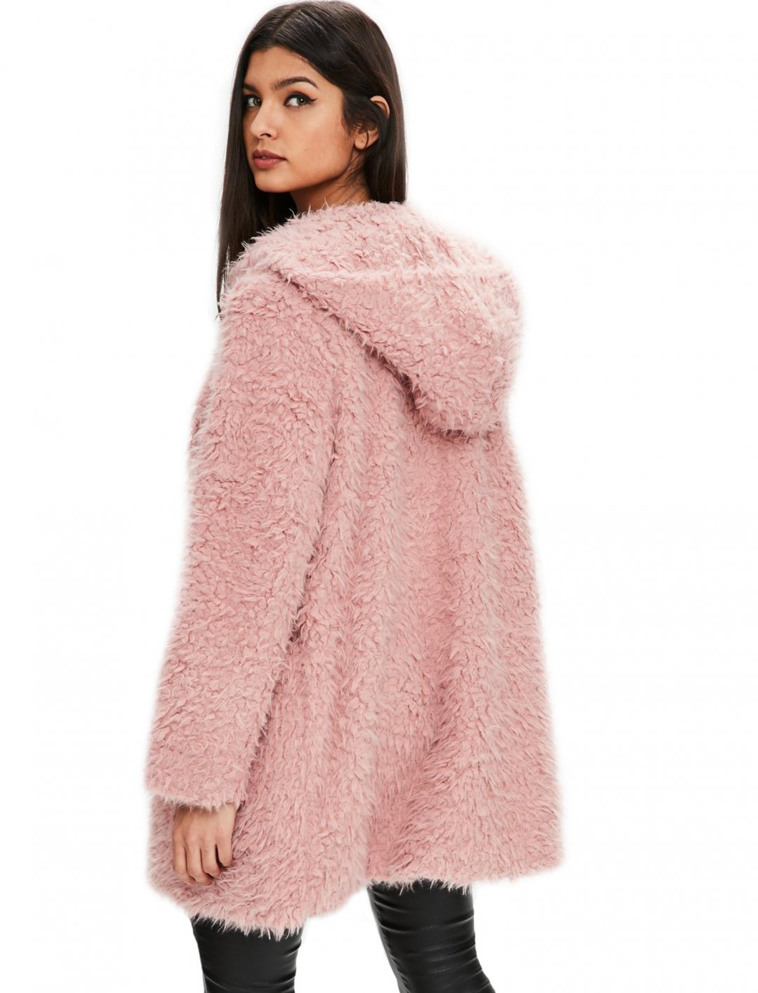 "Pink Shaggy Faux Fur Coat {""id"":5,""product_section_id"":1,""name"":""Clothing"",""order"":5} Missguided"