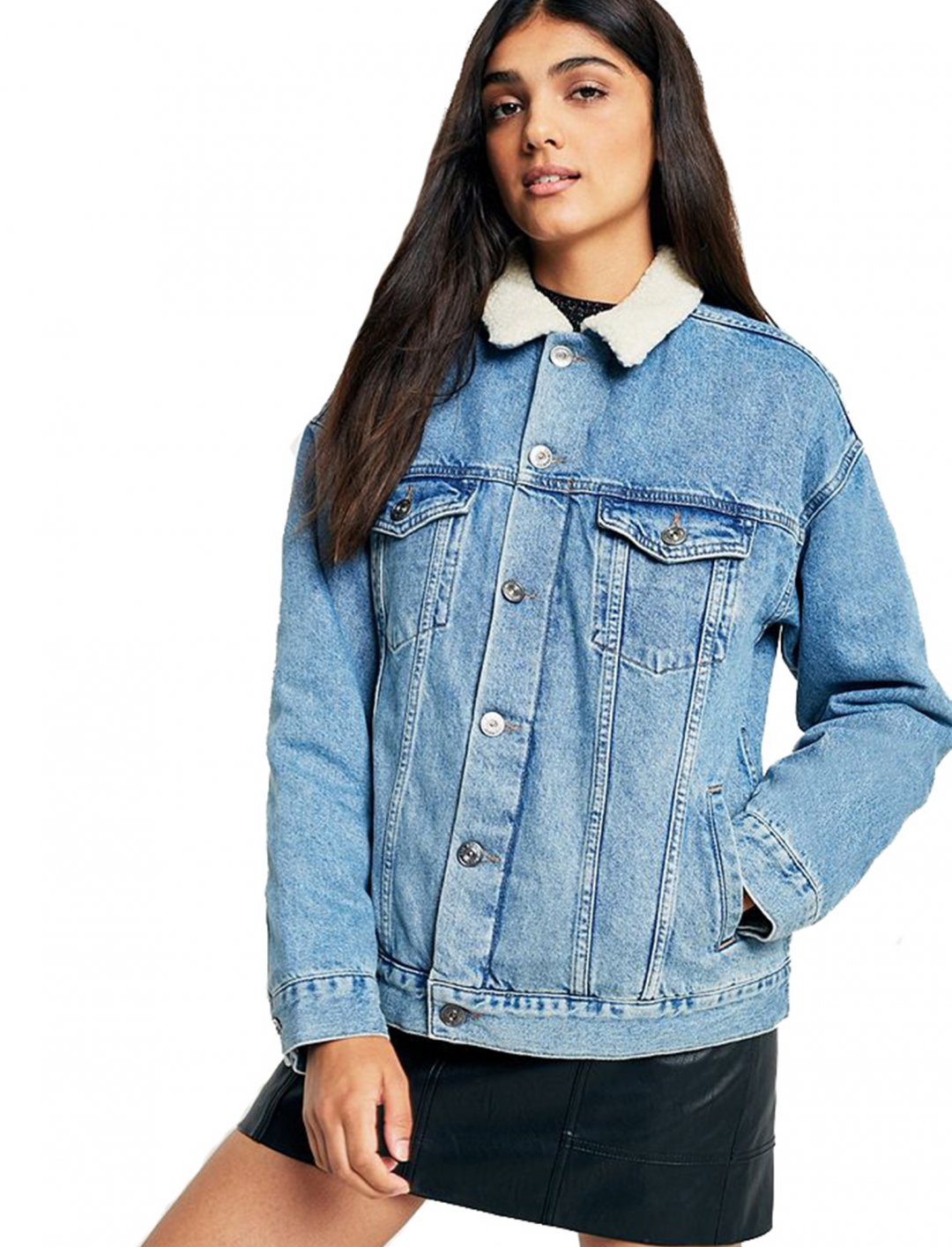 "Borg-Lined Denim Jacket {""id"":5,""product_section_id"":1,""name"":""Clothing"",""order"":5} BDG"
