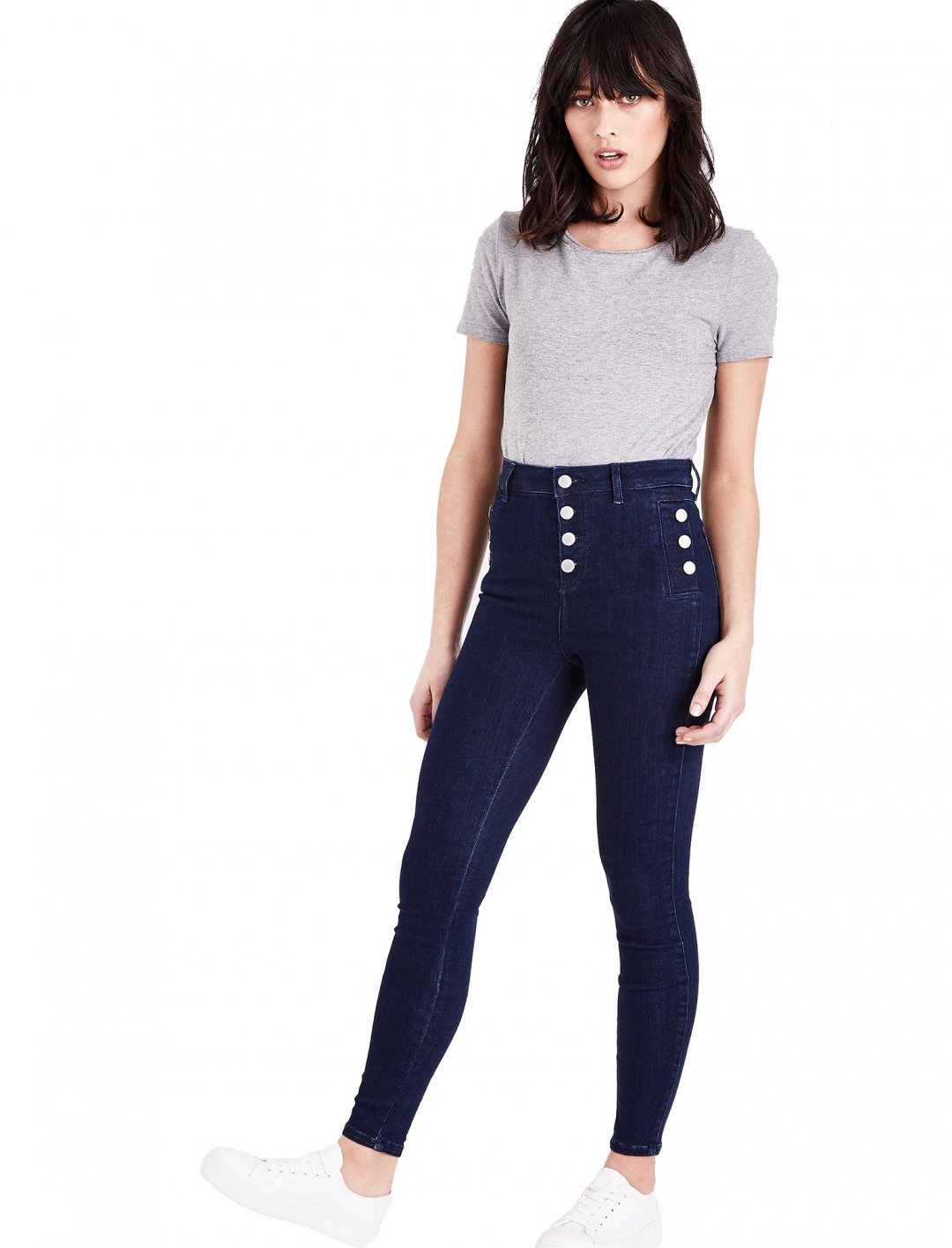 "Button Front Skinny Jeans {""id"":5,""product_section_id"":1,""name"":""Clothing"",""order"":5} New Look"