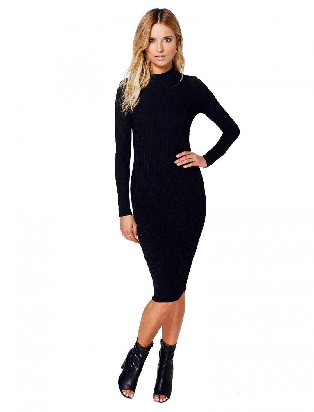 "Ribbed High Neck Dress {""id"":5,""product_section_id"":1,""name"":""Clothing"",""order"":5} Boohoo"