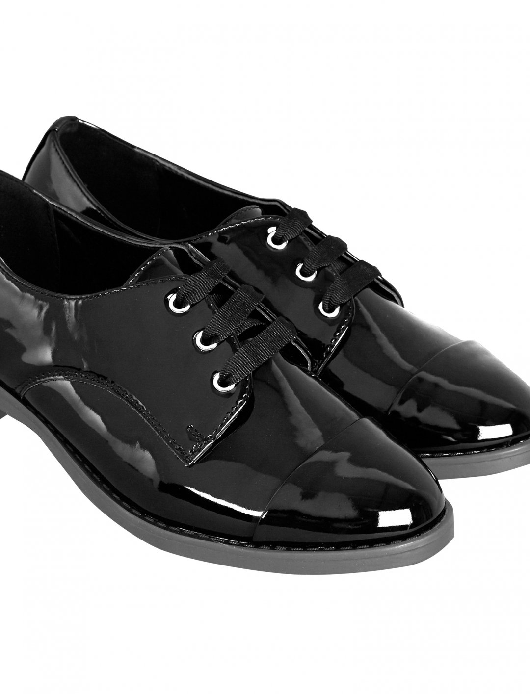Patent Lace Up Brogues Shoes New Look