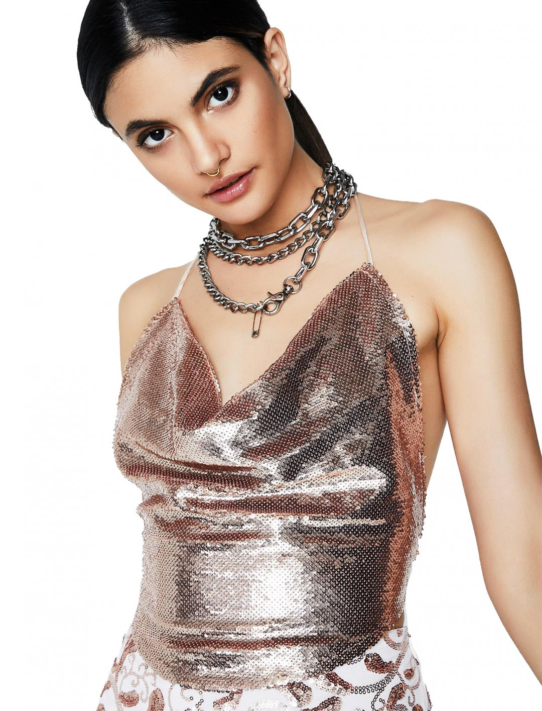 """Sequin Strappy Crop Top {""""id"""":5,""""product_section_id"""":1,""""name"""":""""Clothing"""",""""order"""":5} Dollskill"""